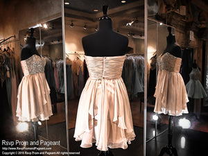 Nude Sweetheart Streapless Chiffon Homecoming Dress / Rsvp Prom and Pageant, Atlanta, GA / Best Prom Store in Atlanta / #Promheaven