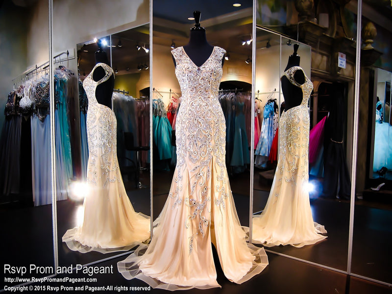 Champagne Open Back Prom Dress - Rsvp Prom and Pageant, Atlanta, GA