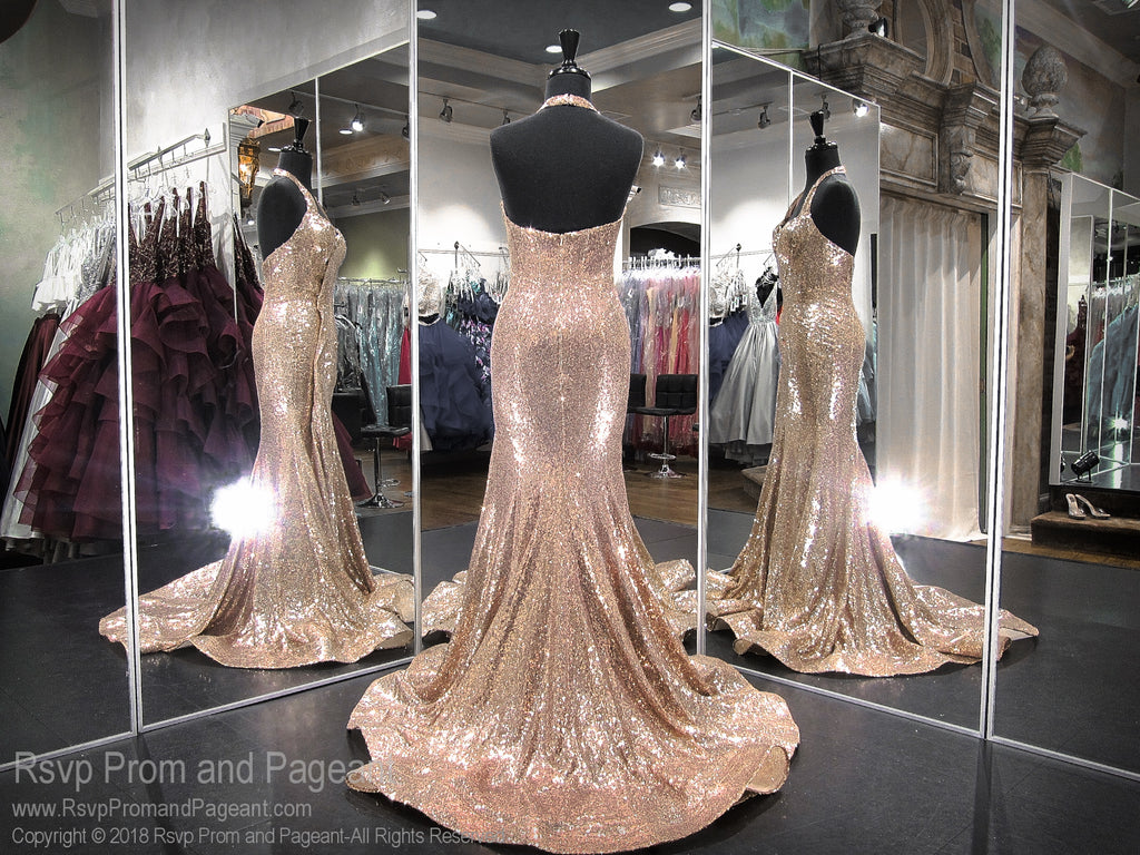 Champagne Sequin Halter Open Back Prom Dress 118EW01180300 / Rsvp Prom and Pageant / Best Prom Store in Atlanta / #Promheaven