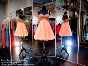 Coral Beaded Sweetheart Top and Tulle Skirt Homecoming Dress (SALE) - Rsvp COL - Short Dress - Rsvp Prom and Pageant Atlanta, Georgia GA - 2