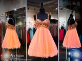 Coral Beaded Sweetheart Top and Tulle Skirt Homecoming Dress (SALE) - Rsvp COL - Short Dress - Rsvp Prom and Pageant Atlanta, Georgia GA - 1