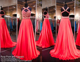 Coral Chiffon Prom Pageant Dress-Aztec Bodice-Open Back-116RA070720 - Rsvp RA - Long Gown - Rsvp Prom and Pageant - 5