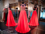 Coral Chiffon Prom Pageant Dress-Aztec Bodice-Open Back-116RA070720 - Rsvp RA - Long Gown - Rsvp Prom and Pageant - 1