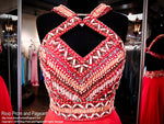 Coral Chiffon Prom Pageant Dress-Aztec Bodice-Open Back-116RA070720 - Rsvp Prom and Pageant, Atlanta, GA