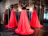 Coral Chiffon Prom Pageant Dress-Aztec Bodice-Open Back-116RA070720 - Rsvp RA - Long Gown - Rsvp Prom and Pageant - 2