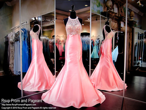Coral Pink Mermaid Prom Pageant Dress-High Beaded Neckline-Keyhole Back / Rsvp Prom and Pageant, Atlanta, GA / Best Prom Store in Atlanta / #Promheaven