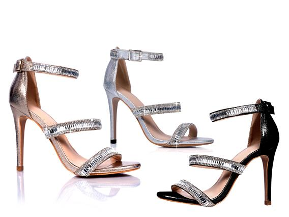 Silver Strappy Sparkly High Heel