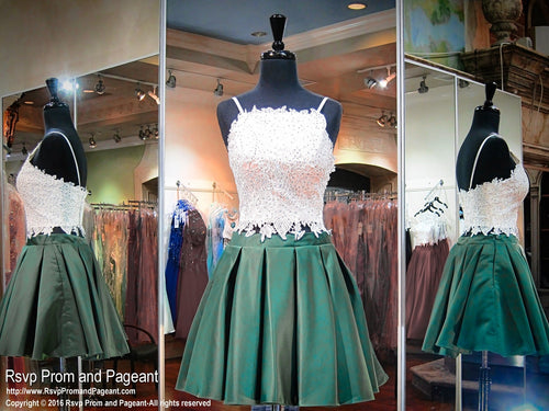 Ivory/Emerald Two-piece Short Homecoming Dress - Rsvp Prom and Pageant, Atlanta, GA