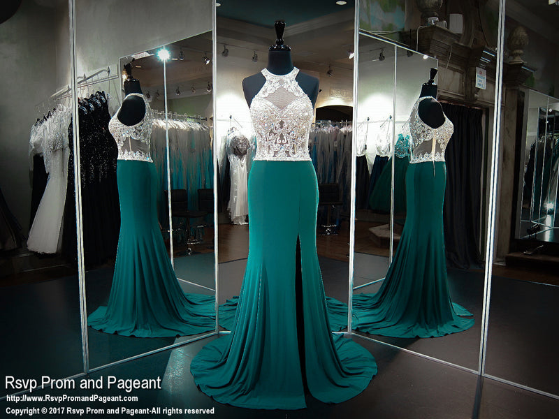 Forest Green Fitted Jersey Beaded Halter Prom Dress - Rsvp CLAR - Long Gown - Rsvp Prom and Pageant Atlanta, Georgia GA - 2