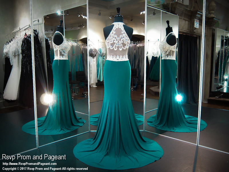 Forest Green Fitted Jersey Beaded Halter Prom Dress - Rsvp CLAR - Long Gown - Rsvp Prom and Pageant Atlanta, Georgia GA - 3