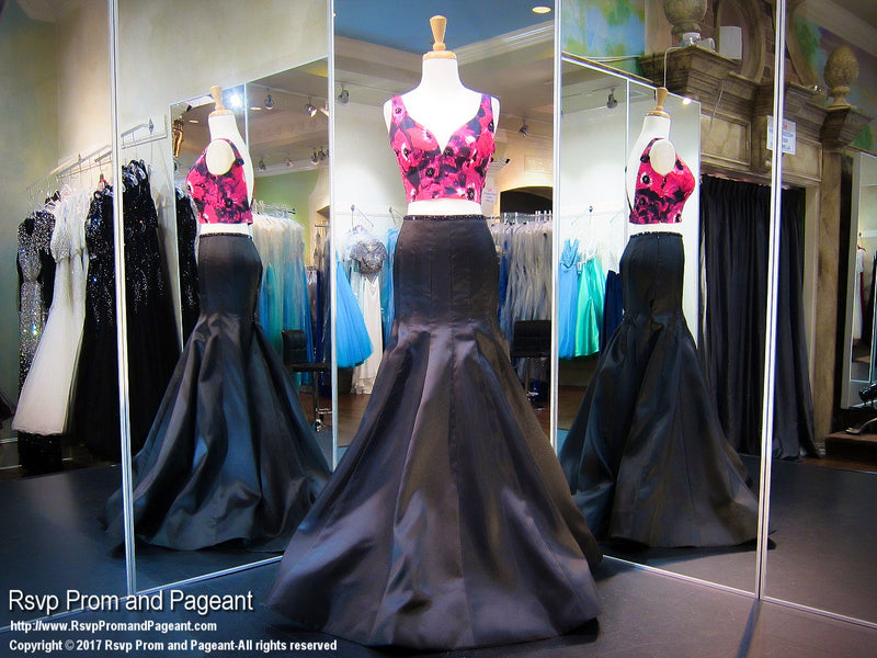 Fuchsia/Black V Neck Two Piece Prom Dress - Rsvp RA - Long Gown - Rsvp Prom and Pageant Atlanta, Georgia GA - 1