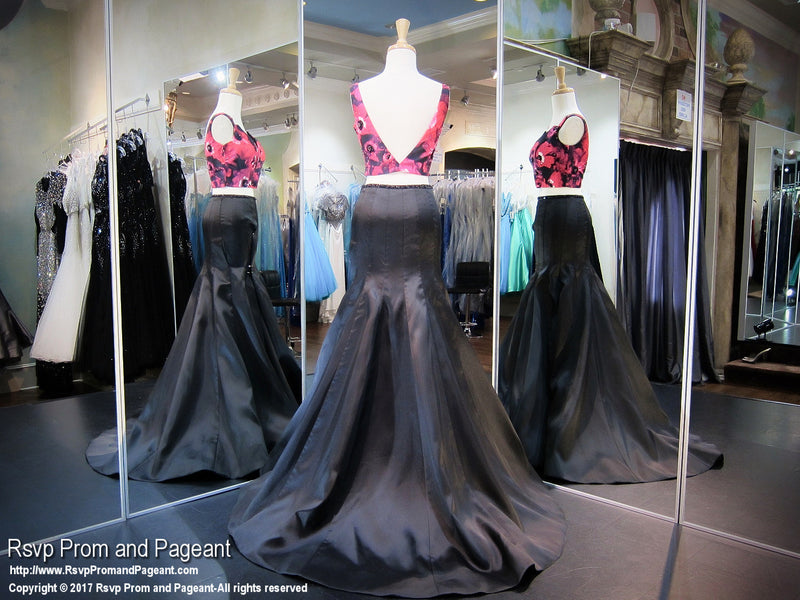 Fuchsia/Black V Neck Two Piece Prom Dress - Rsvp RA - Long Gown - Rsvp Prom and Pageant Atlanta, Georgia GA - 3