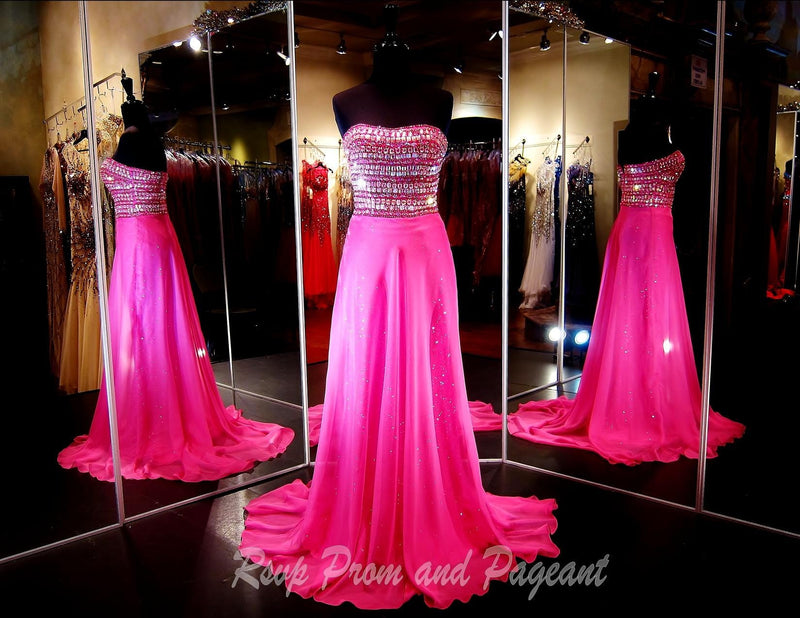 Fuchsia Strapless Chiffon Prom Dress - Rsvp Prom and Pageant, Atlanta, GA