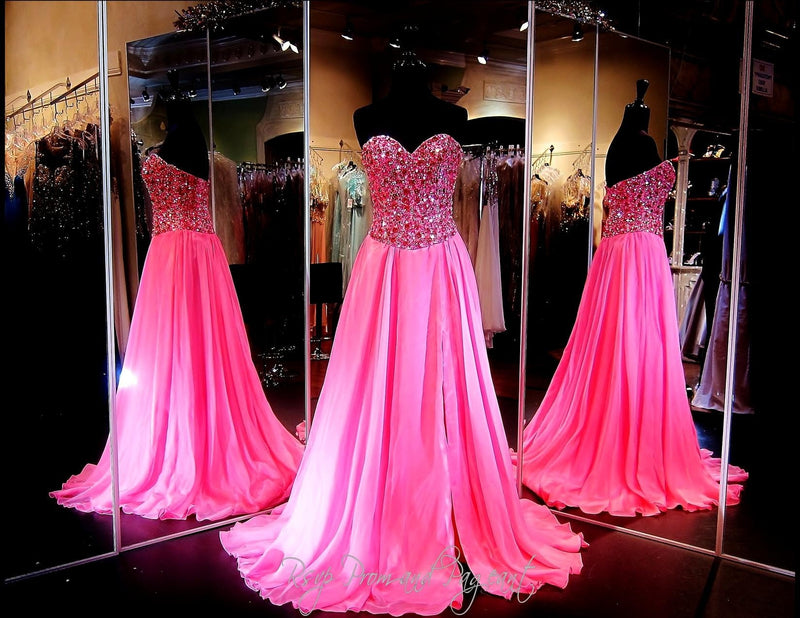 Fuchsia Chiffon A-Line Prom or Pageant Dress-High Slit-Fully beaded sweetheart bodice-115JC0500500398 - Rsvp Prom and Pageant, Atlanta, GA
