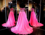 Fuchsia Chiffon A-Line Prom or Pageant Dress-High Slit-Fully beaded sweetheart bodice-115JC0500500398 - Rsvp JC - Long Gown - Rsvp Prom and Pageant - 3