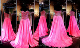 Fuchsia Chiffon A-Line Prom or Pageant Dress-High Slit-Fully beaded sweetheart bodice-115JC0500500398 - Rsvp JC - Long Gown - Rsvp Prom and Pageant - 2