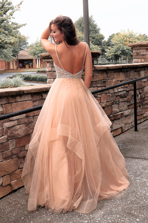 Gold Multi Layered Beaded Ball Gown