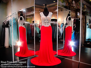 Red V-Neck Beaded Fitted Long Dress / Rsvp Prom and Pageant, Atlanta, GA / Best Prom Store in Atlanta / #Promheaven
