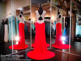 Red Soft Jersey Evening Gown-Crystals Illusion Bodice-Open Back-116JC056340 - Rsvp JC - Long Gown - Rsvp Prom and Pageant - 2