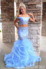 Periwinkle Sweetheart Neckline Two Piece Mermaid Prom Dress at Rsvp Prom and Pageant, the largest Atlanta prom dress store also known as Promheaven