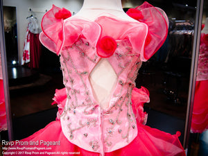Watermelon Two Toned Cap Sleeve Pageant Dress / Rsvp Prom and Pageant / Best Pageant Store