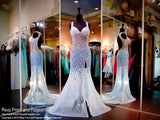 Blue Fully Beaded Prom Dress-Sweetheart Neckline-Open Back-Slit-116EC0160940 - Rsvp EC - Long Gown - Rsvp Prom and Pageant - 1