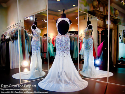 Blue Fully Beaded Prom Dress-Sweetheart Neckline-Open Back-Slit-116EC0160940 - Rsvp Prom and Pageant, Atlanta, GA