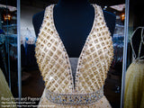 Gold Beaded Ball Gown with Open Back 117COL017420 / Rsvp Prom and Pageant / Best Prom Store
