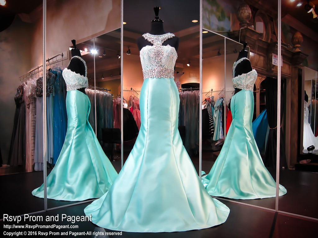 Mint Mermaid White Lace Beaded Halter / Rsvp Prom and Pageant