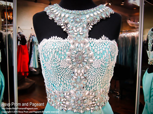 Mint Mermaid Prom Dress-White Lace Beaded Halter-Open Back - Rsvp RA - Long Gown - Rsvp Prom and Pageant Atlanta, Georgia GA - 2