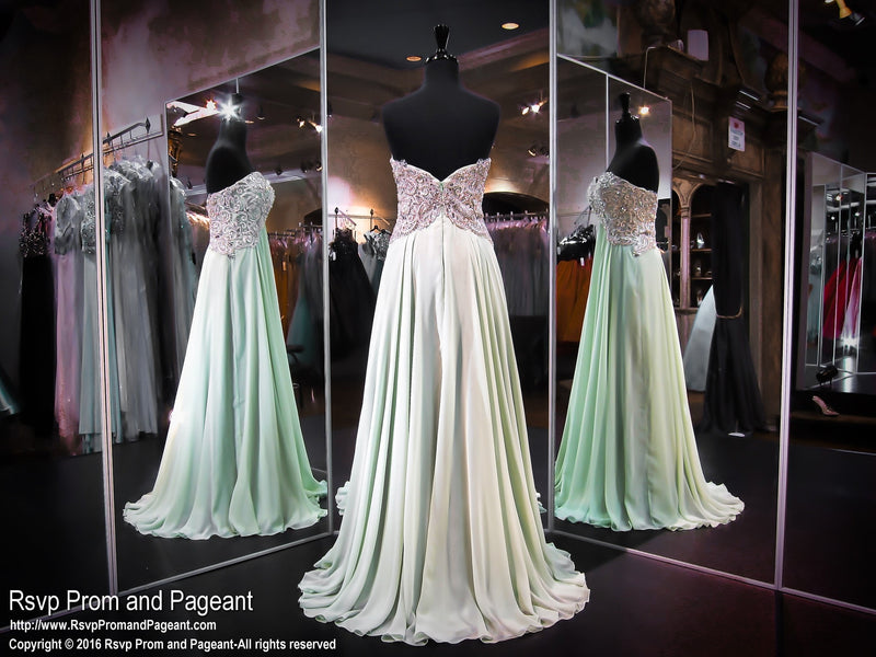 Mint Chiffon Evening Prom Dress-Sweetheart Neckline / Rsvp Prom and Pageant, Atlanta, GA / Best Prom Store in Atlanta / #Promheaven