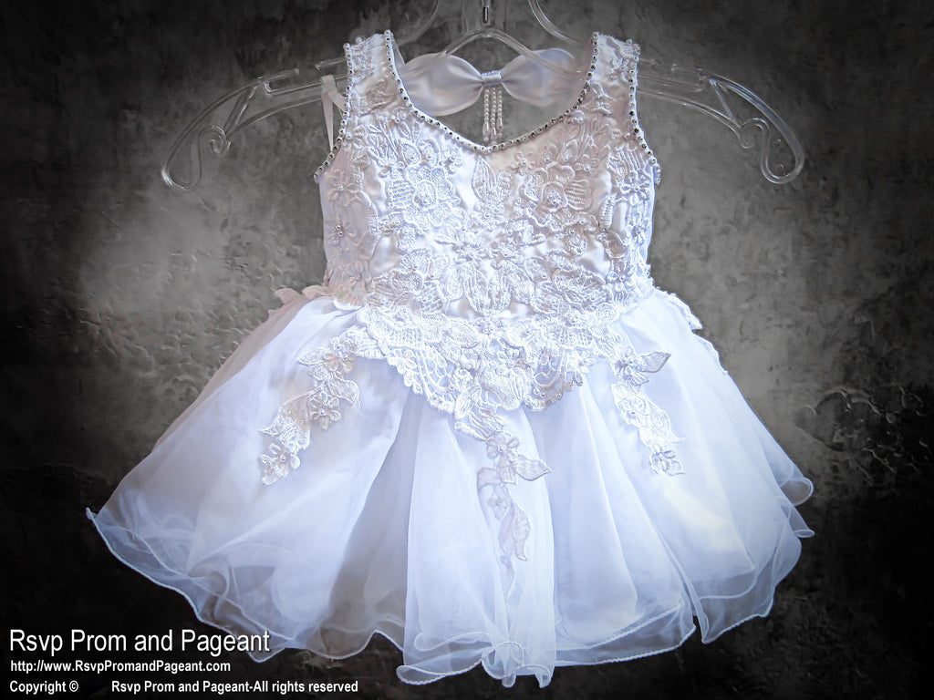 White Pearls And Lace Baby Pageant Flower Girl Dress Rsvp Prom And
