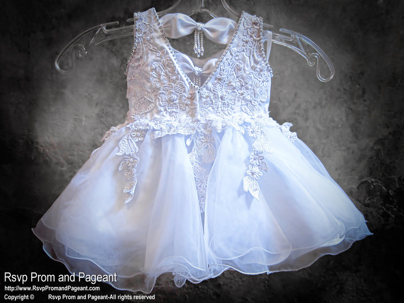White Pearls Baby Pageant Flower Girl Dress at Rsvp Prom and Pageant, the largest prom dress store in Atlanta, also known as #Promheaven