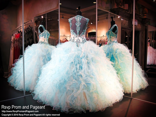 Aqua Ball Gown-Quinceanera-Sweetheart-Cap Sleeves-Button up Illusion Back / Rsvp Prom and Pageant, Atlanta, GA / Best Prom Store in Atlanta / #Promheaven