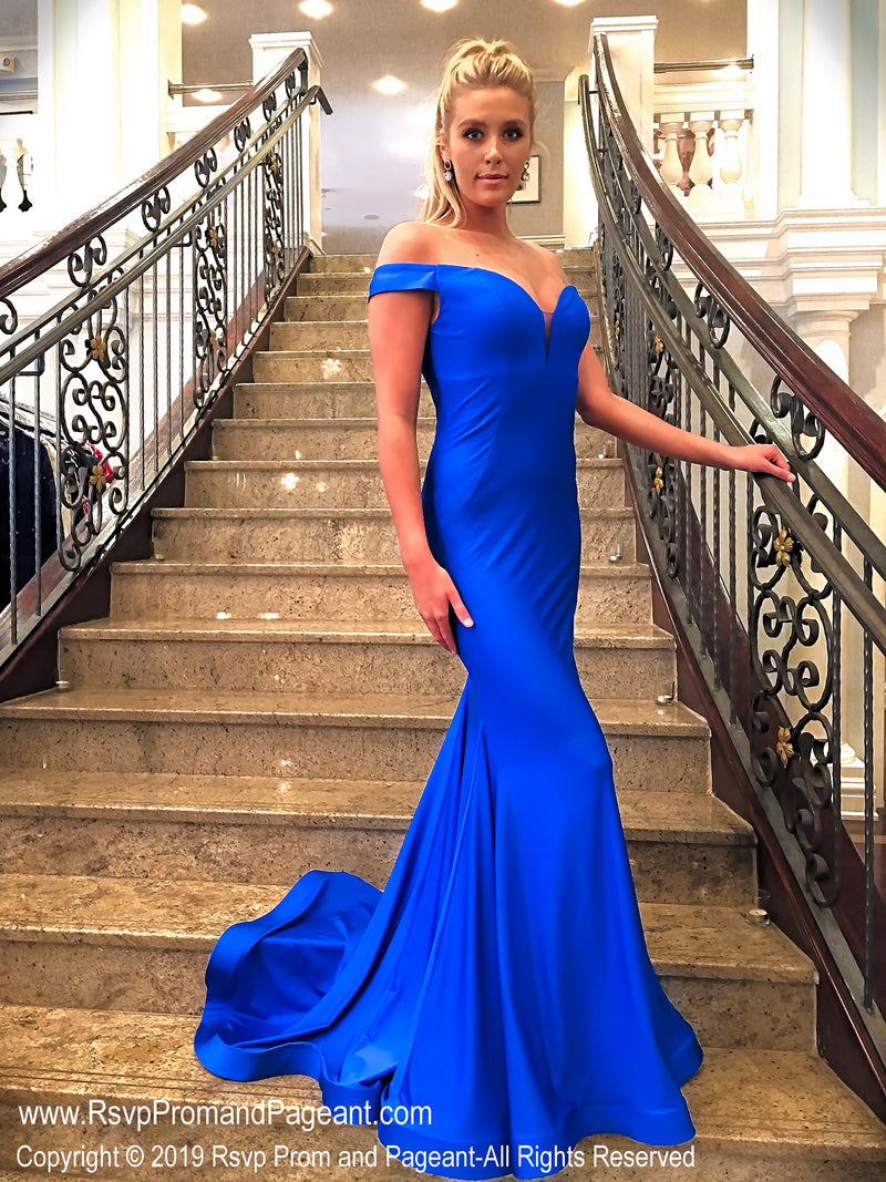 Electric Blue Sweetheart Neckline Off The Shoulder at Rsvp Prom and Pageant, the largest Atlanta prom dress store also known as Promheaven