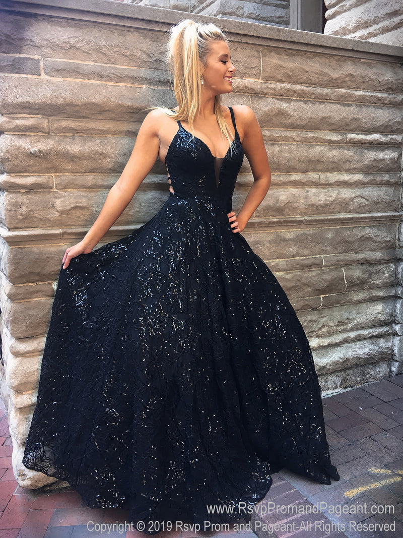 Black V Neckline Ball Gown Prom Dress