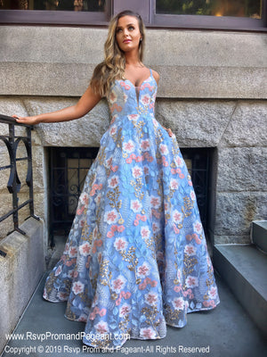 Powder Blue/Multi V Neckline Open Back Ball Gown Prom Dress at Rsvp Prom and Pageant, the largest Atlanta prom dress store also known as promheaven