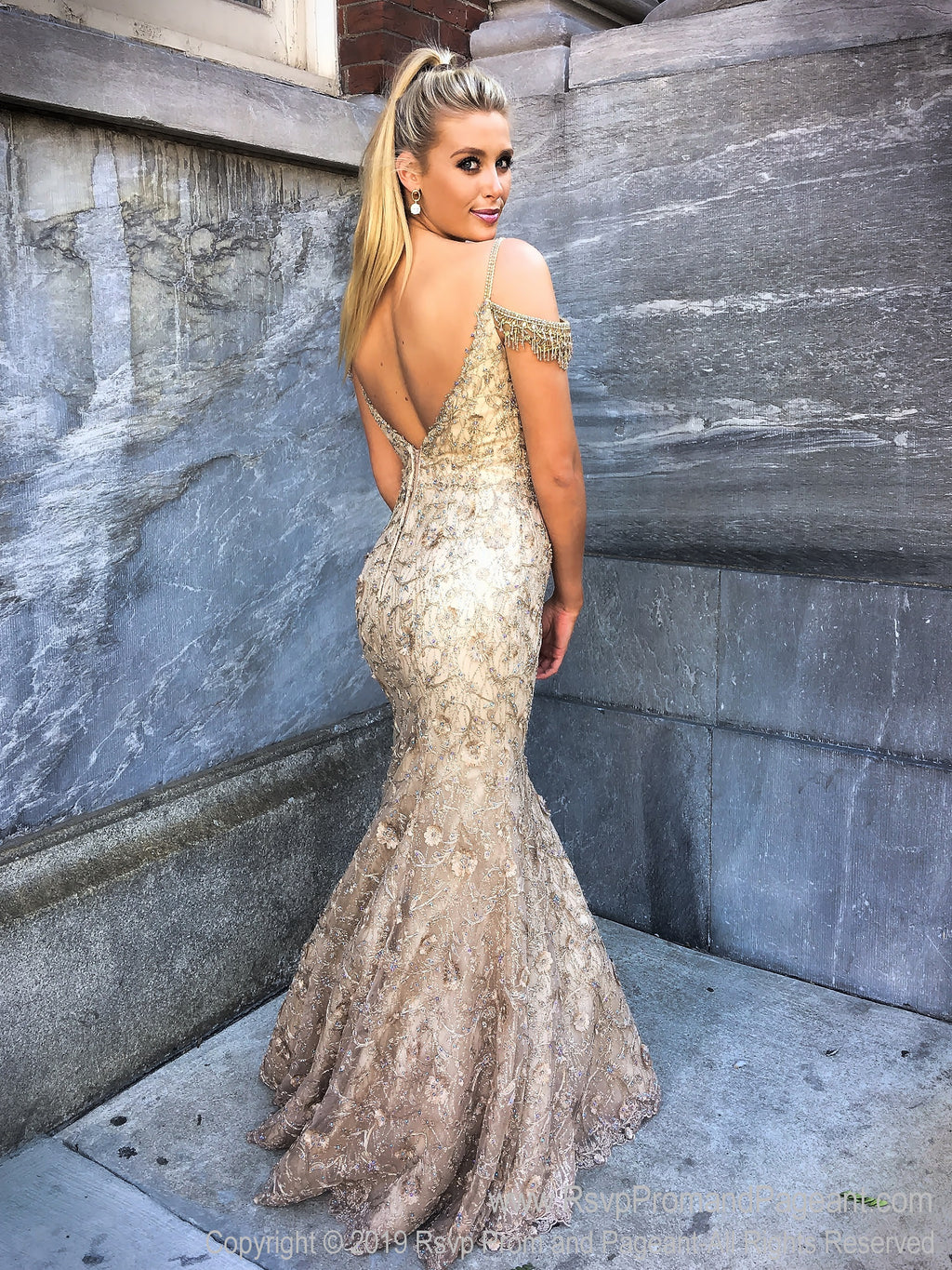 Back of Gold V Neckline Mermaid Prom Dress at Rsvp Prom and Pageant, the largest Atlanta prom dress store also known as promheaven