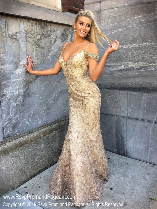 Front of Gold V Neckline Mermaid Prom Dress at Rsvp Prom and Pageant, the largest Atlanta prom dress store also known as promheaven