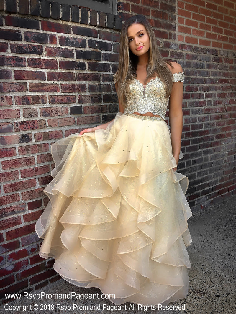 Gold Off The Shoulder Two Piece Ball Gown Prom Dress at Rsvp Prom and Pageant, the largest Atlanta prom dress store also known as Promheaven