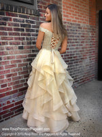 Back of Gold Off The Shoulder Two Piece Ball Gown Prom Dress at Rsvp Prom and Pageant, the largest Atlanta prom dress store also known as Promheaven