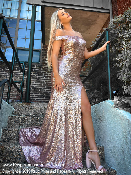 Rose Gold Off The Shoulder With Slit Prom Dress at Rsvp Prom and Pageant, the largest Atlanta prom dress store also known as Promheaven