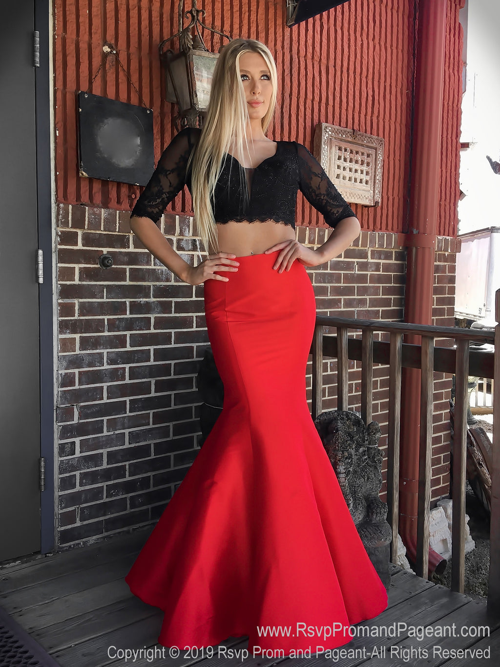 Front of Black/Red V Neckline Long Sleeve Two Piece Prom Dress at Rsvp Prom and Pageant, the largest Atlanta prom dress store also known as promheaven