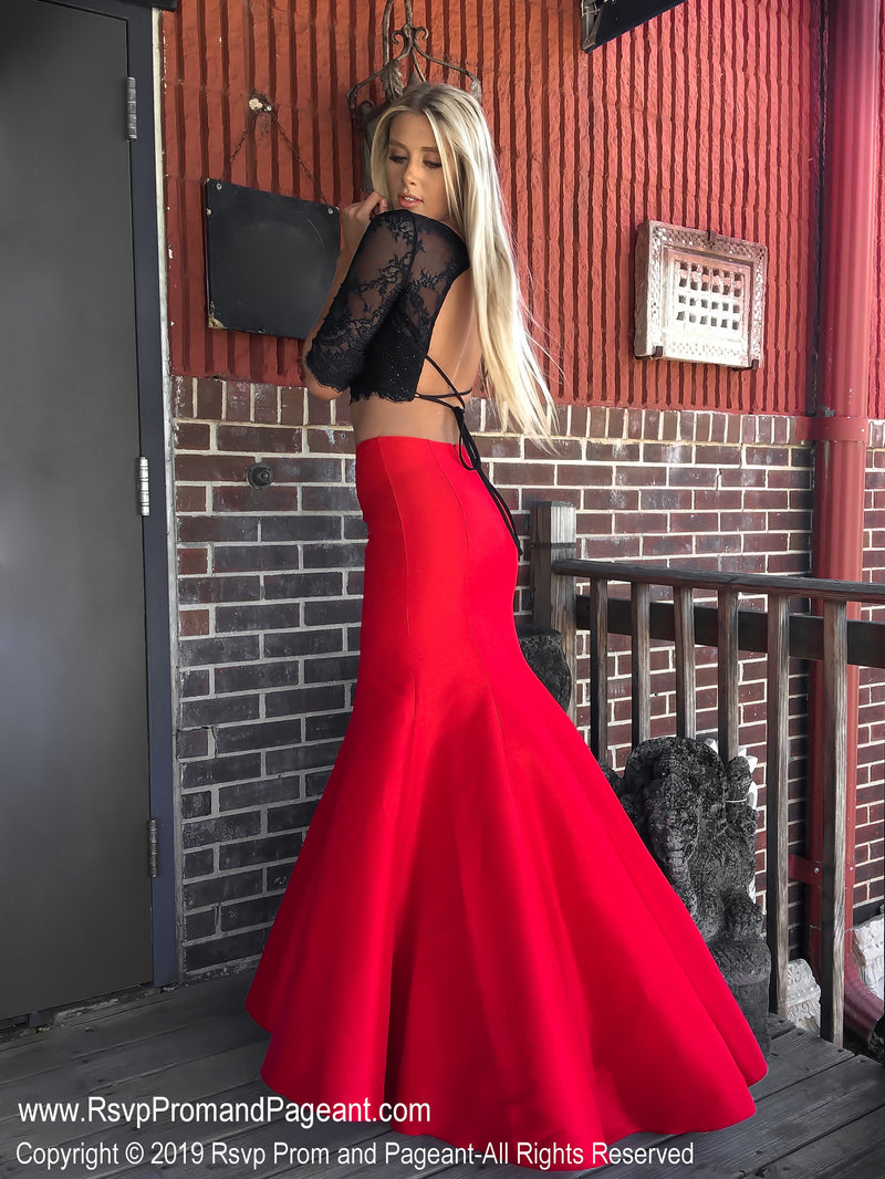 Back of Black/Red V Neckline Long Sleeve Two Piece Prom Dress at Rsvp Prom and Pageant, the largest Atlanta prom dress store also known as promheaven