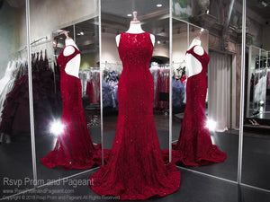Wine Lace Open Back Prom Dress 118CLAR069380 / Rsvp Prom and Pageant / Best Prom Store in Atlanta / #Promheaven