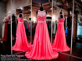 Hot Pink Chiffon Prom Dress-High Neckline-Illusion Back - Rsvp Prom and Pageant, Atlanta, GA