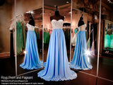 Turquoise Chiffon Flowing Prom Gown with Nude Beaded Strapless Bodice-116EC0160830 at Rsvp Prom and Pageant, your source for the HOTTEST Prom and Pageant Dresses!