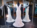 Ivory V Neck Lace Mermaid Prom Dress - Rsvp Prom and Pageant, Atlanta, GA