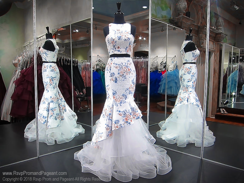 Ivory/Floral High Neckline Two Piece Prom Dress / Rsvp Prom and Pageant, Atlanta, GA / Best Prom Store in Atlanta / #Promheaven