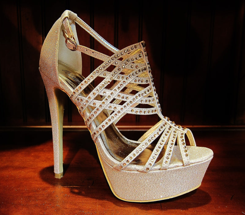 Rhinstone Gold Platform Heels - Rsvp Prom and Pageant - Shoes - Rsvp Prom and Pageant Atlanta, Georgia GA